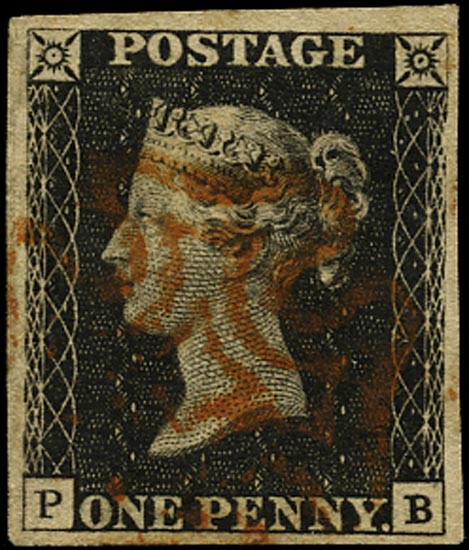 GB 1840  SG2 Pl.1b Penny Black