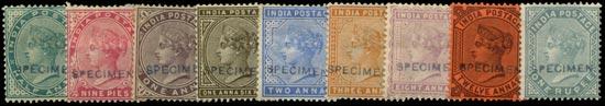 INDIA 1882  SG84/93, 98/101 Specimen