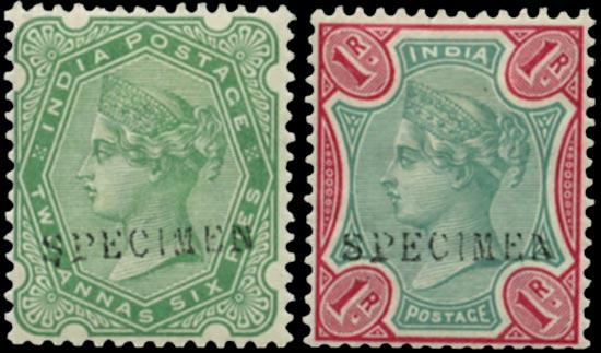 INDIA 1892  SG103, 105 Specimen