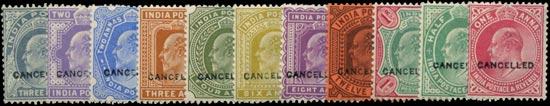 INDIA 1902  SG120, 124/36, 149/50 Specimen