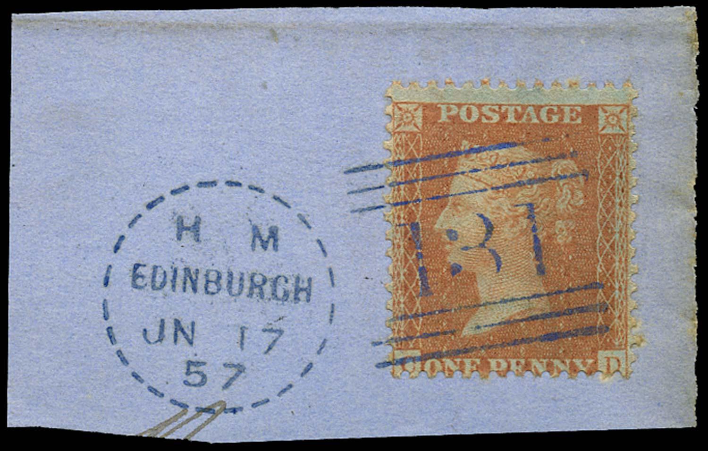 GB 1857  SG33 Used blue Edinburgh
