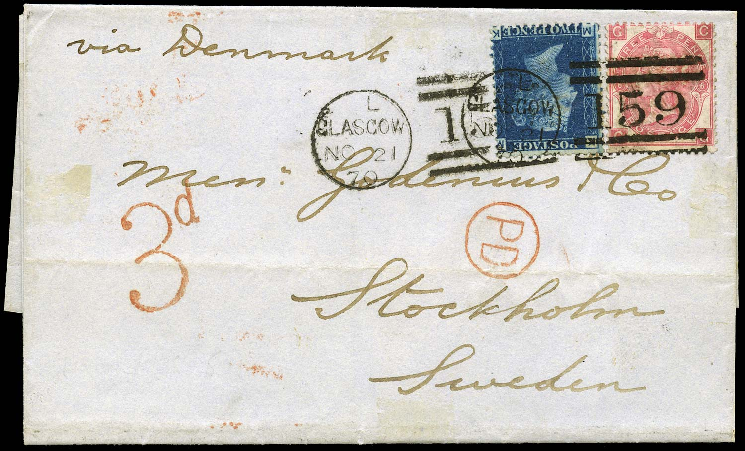 GB 1870  SG47, 103 Cover Glasgow to Stockholm