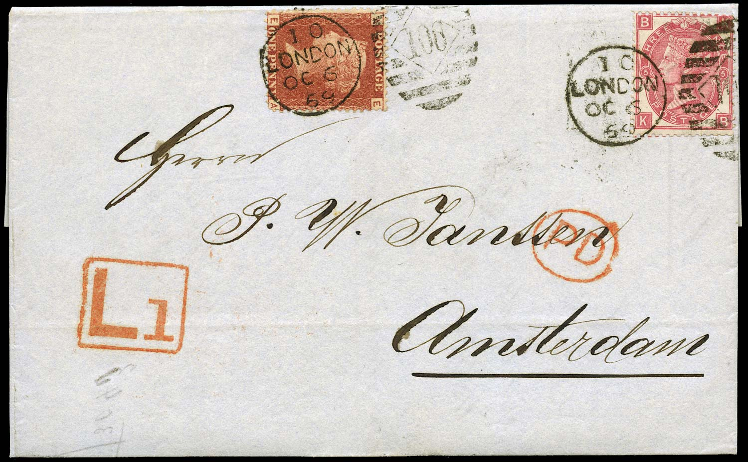 GB 1869  SG43, 103 Cover London to Amsterdam