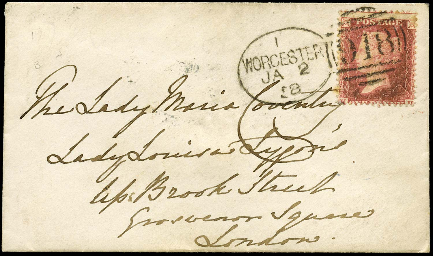 GB 1857  SG40 Pl.55 Cover Worcester