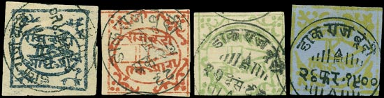 I.F.S. BUNDI 1896  SG3, 4, 6, 16a Used