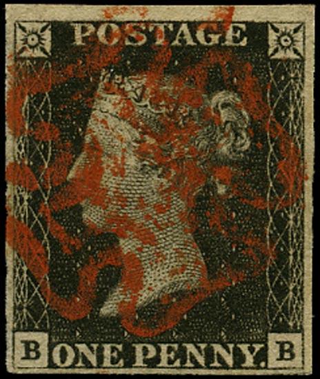 GB 1840  SG2 Pl.1b Penny Black FU red MC (BB)
