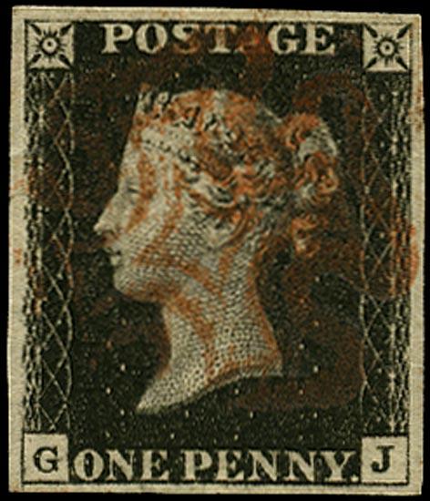 GB 1840  SG2 Pl.4 Penny Black VFU red MC (GJ)