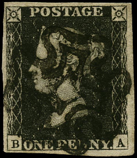 GB 1840  SG2 Pl.6 Penny Black VFU black MC (BA)