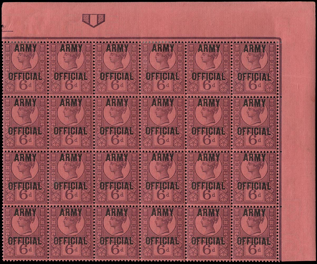 GB 1901  SGO45 Official (Army Official) block of twenty four