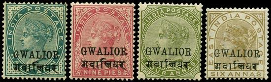 I.C.S. GWALIOR 1885  SG16, 17, 27, 29 vars Mint