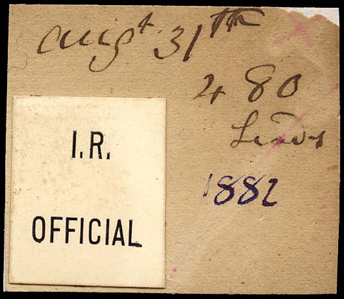 GB 1882 Official I.R. Official (Type L1)