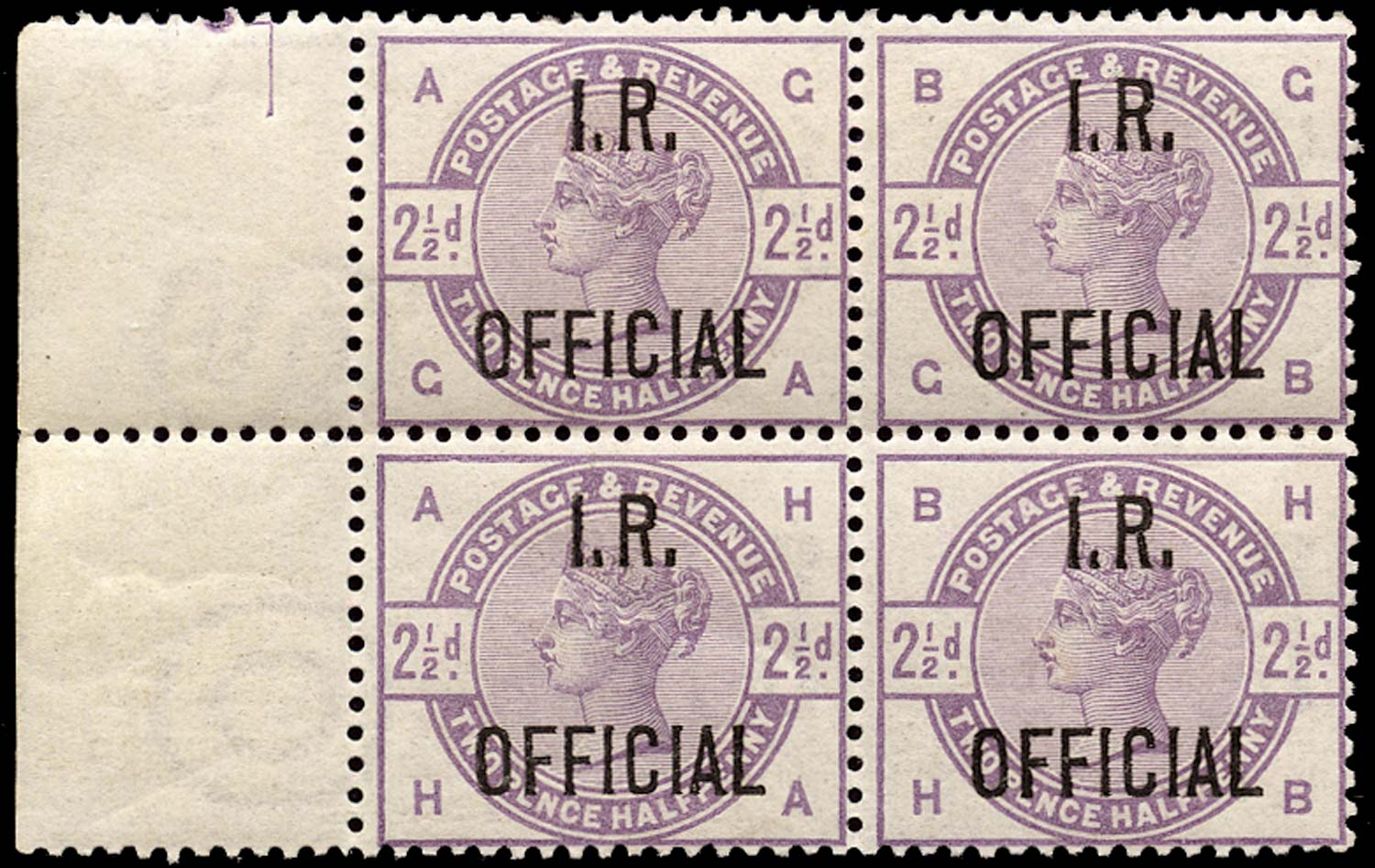 GB 1885  SGO6 Official Unused o.g. block of four