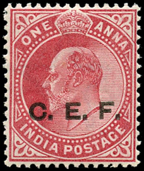 INDIA CEF 1905  SGC13a Mint Overprint Double, One Albino