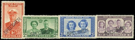 BASUTOLAND 1947  SG32s/35s Specimen Royal Visit