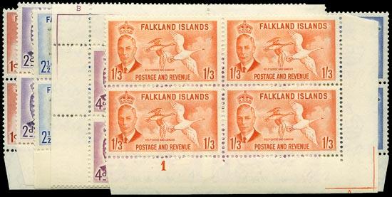 FALKLAND ISLANDS 1952  SG173/7, 181 Mint
