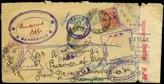 TRANSVAAL 1901  SG227 Cover 8x censored at FOUR Boer War P.O.W. camps