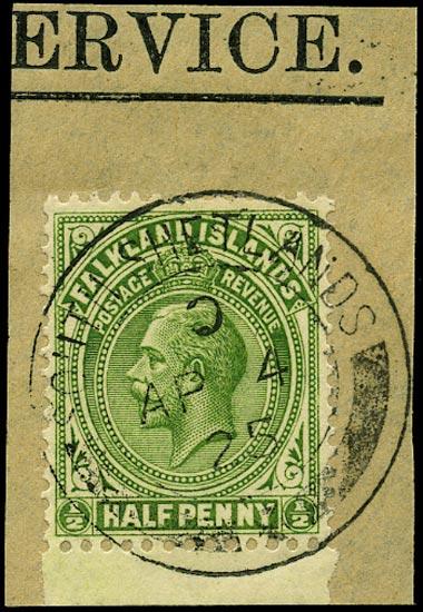 FALKLAND ISLAND DEPS 1921  SGZ141 Cancel