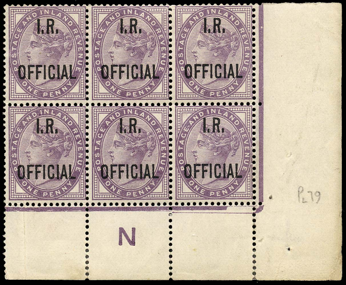 GB 1882  SGO3a Official Blue-black overprint, control block