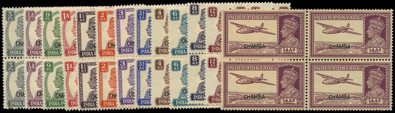 I.C.S. CHAMBA 1942  SG108/20 Mint