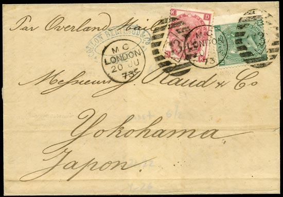 GB 1873  SG117,143 Cover to Yokohama, Japan
