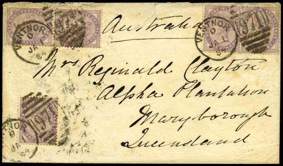 GB 1884  SG172 Cover to Queensland, Australia