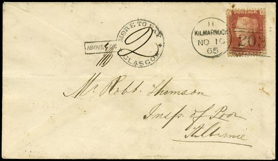 GB 1865  SG43 Pl.92 Cover - Glasgow 'frying pan' due mark