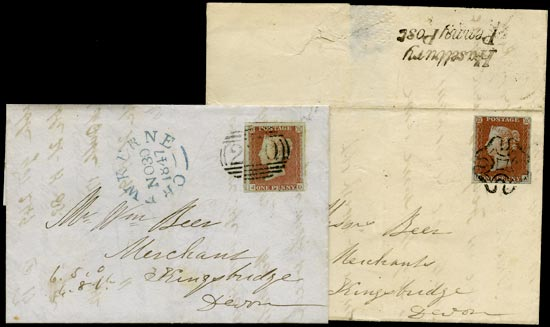 GB 1841  SG8 Pl.38,72 Cover - matched pair of covers from Haselbury