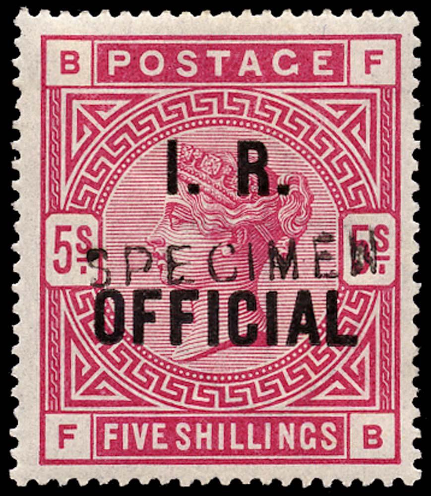 "GB 1890  SGO9s Official ""SPECIMEN"" type 11"