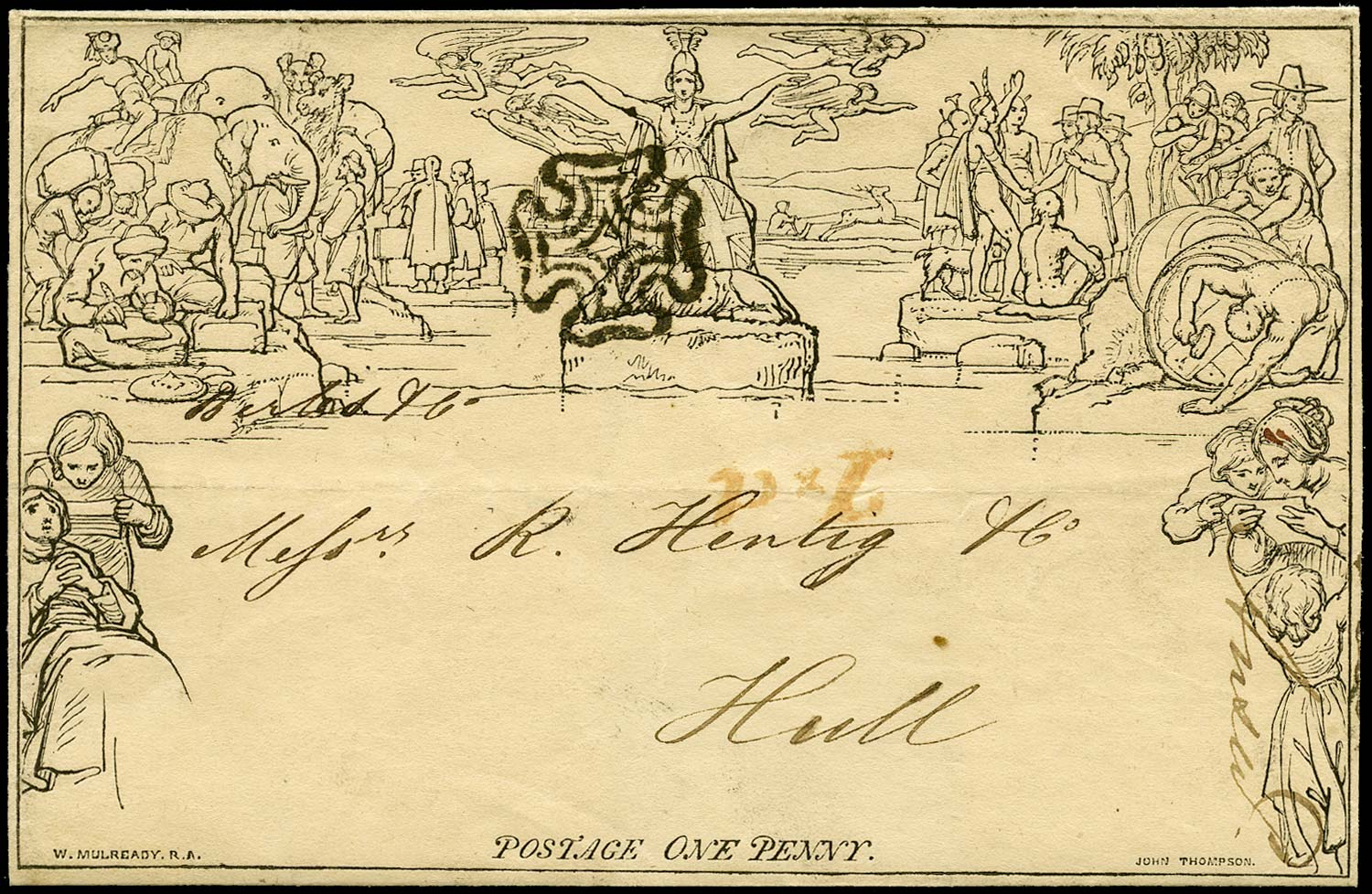 GB 1840  SGME1 Cover Mulready lettersheet Liverpool to Hull