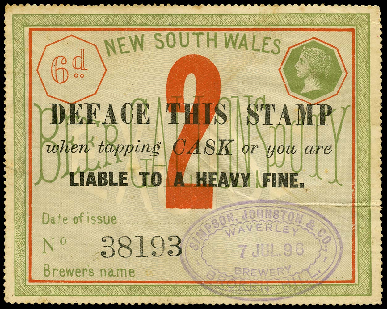 NEW SOUTH WALES 1894 Revenue Beer Duty