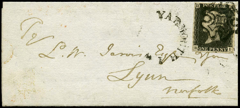 GB 1840  SG2 Pl.4 Penny Black Yarmouth IoW to Lynn