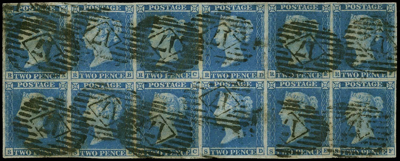 GB 1841  SG14 Pl.3 Used spectacular block of twelve