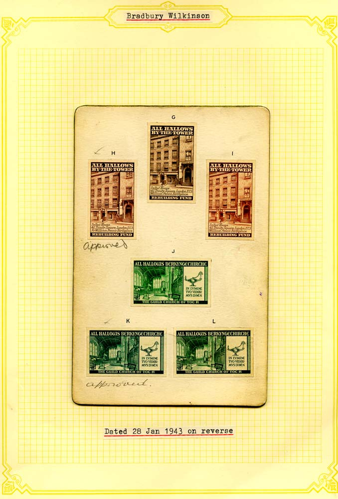 GB 1943 Cinderella - 1943 All Hallows By-The-Tower Rebuilding Fund die proofs