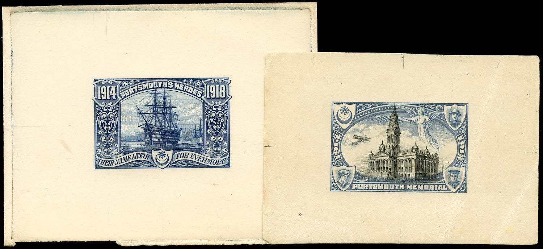 GB 1918 Cinderella - Portsmouth War Heroes die proofs