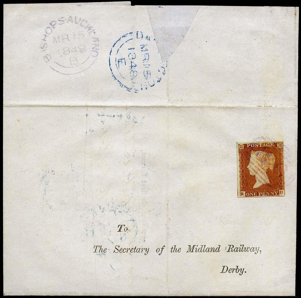 GB 1841  SG8p Pl.75 Cover Violet Bishops Auckland