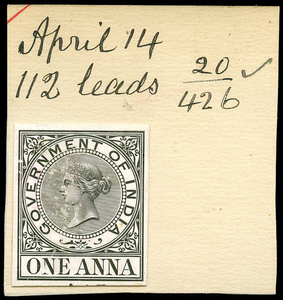 INDIA 1869 Revenue 1a Day Book Die Proof
