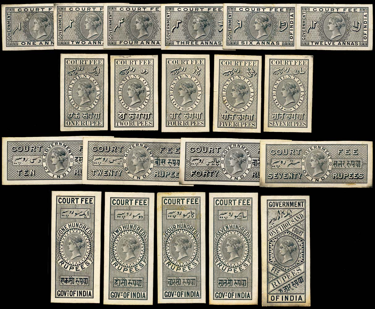 INDIA 1872 Revenue Court Fee Set of 20 Die Proofs
