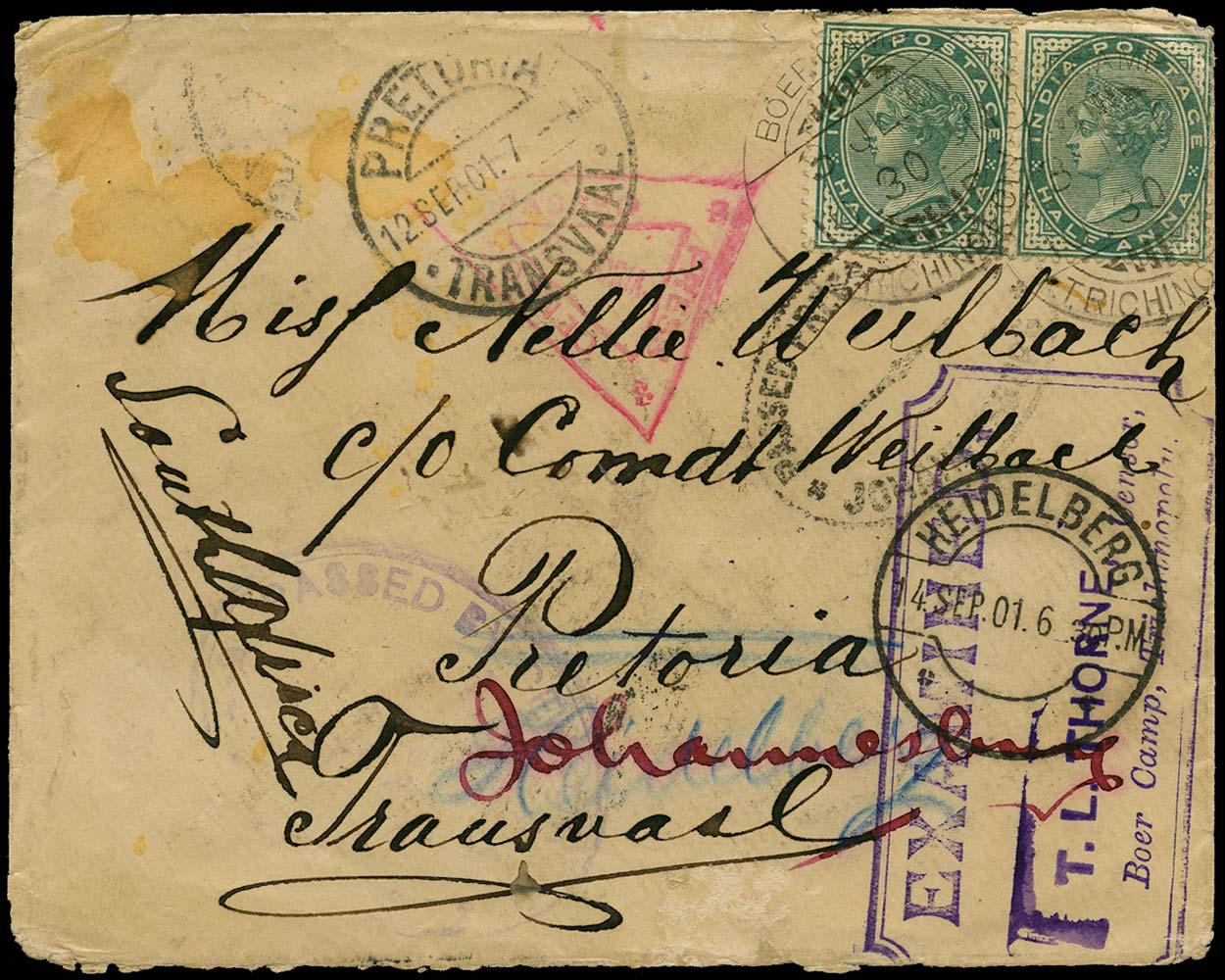 INDIA 1901 Cover Boer War Trichinopoly P.O.W. camp