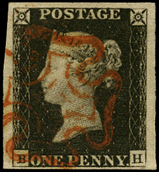 GB 1840  SG2 Pl.1b Penny Black VFU red MC (BH)