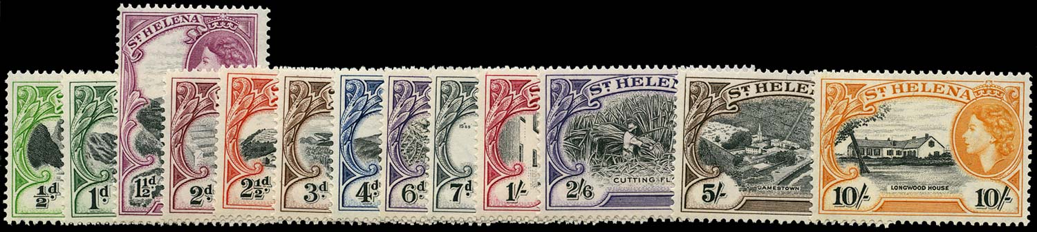 ST HELENA 1953  SG153/65 Mint QEII pictorial set of 13 to 10s unmounted