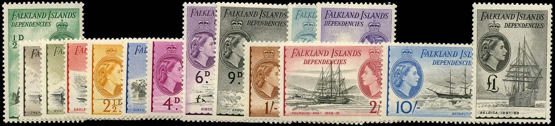 FALKLAND ISLAND DEPS 1954  SGG26/40 Mint Ships set of 15 to £1 unmounted
