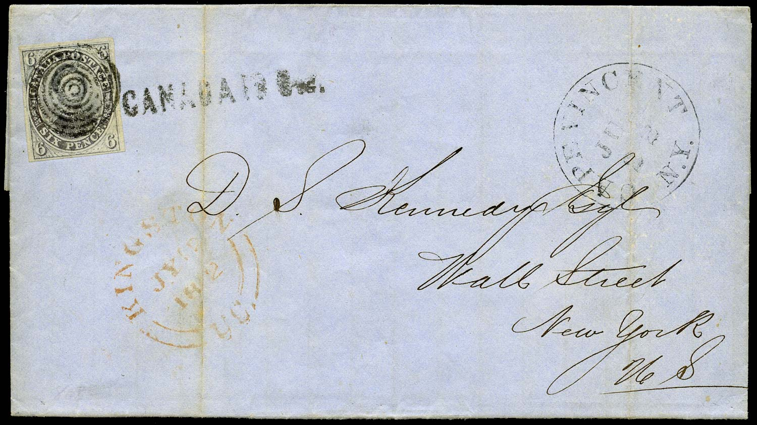 CANADA 1852  SG2 Cover to New York with Prince Consort 6d slate-violet