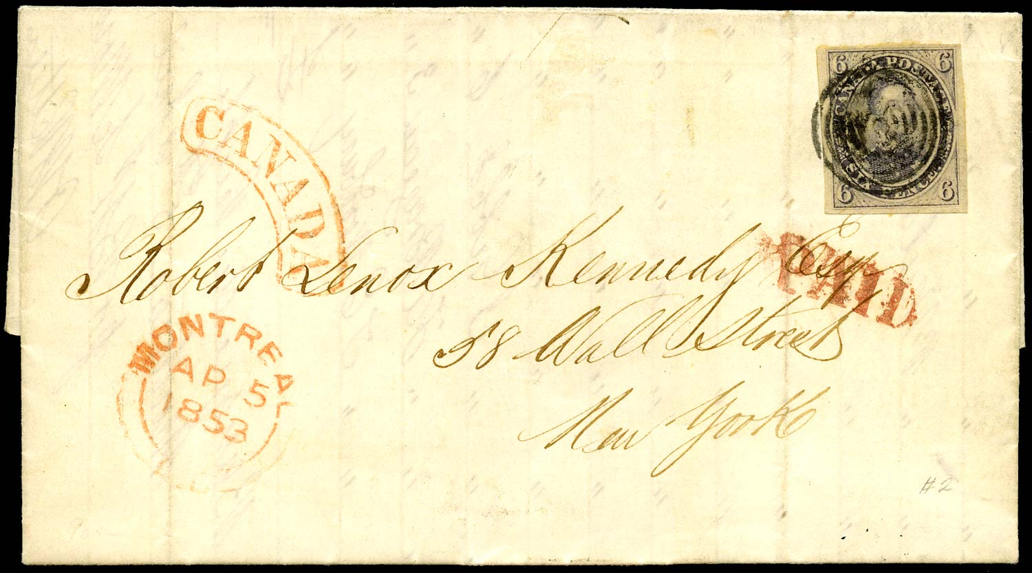 CANADA 1853  SG3 Cover to Wall Street with Prince Consort 6d brown-purple