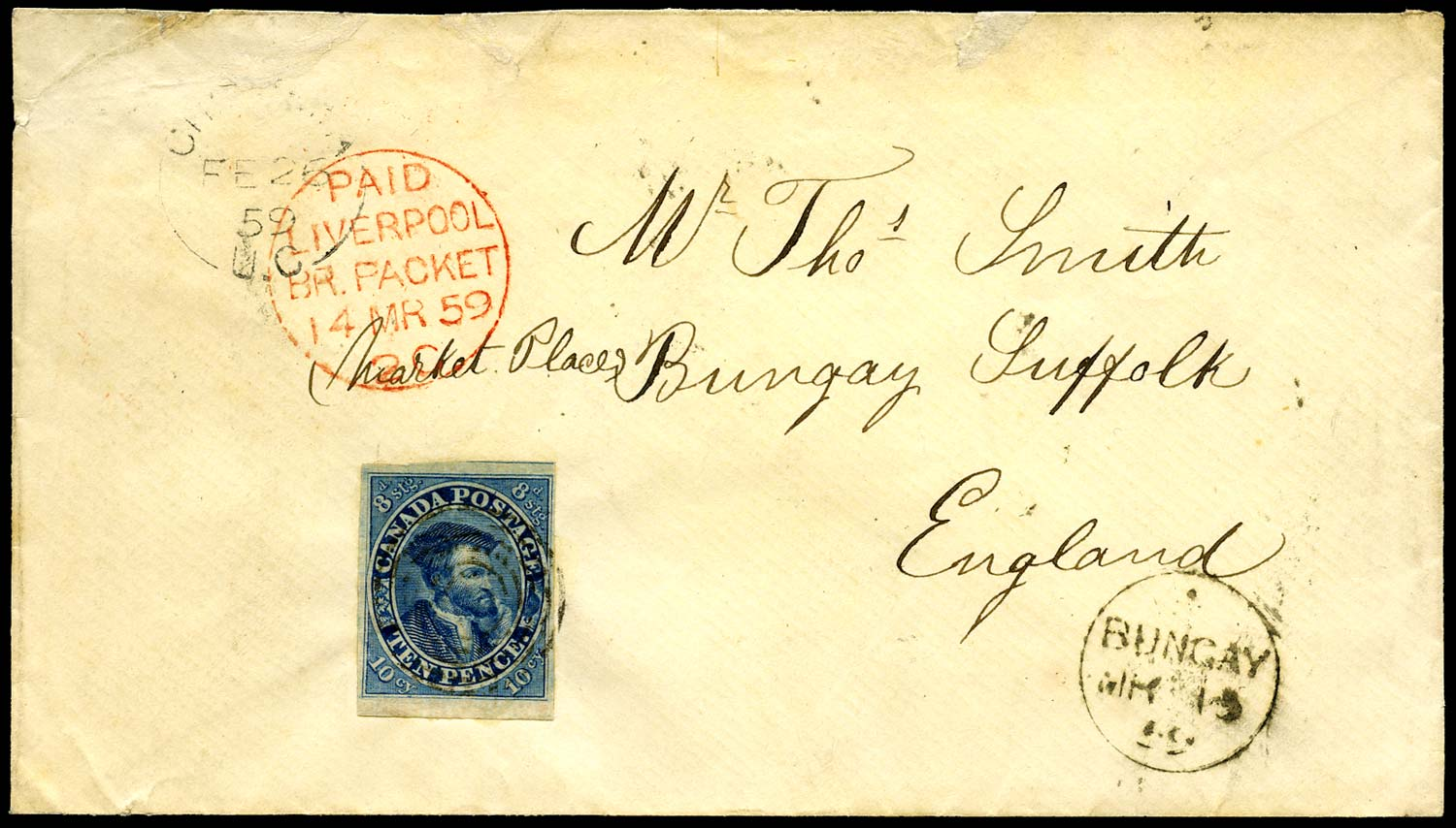 CANADA 1859  SG20 Cover to England with Jacques Cartier 10d blue