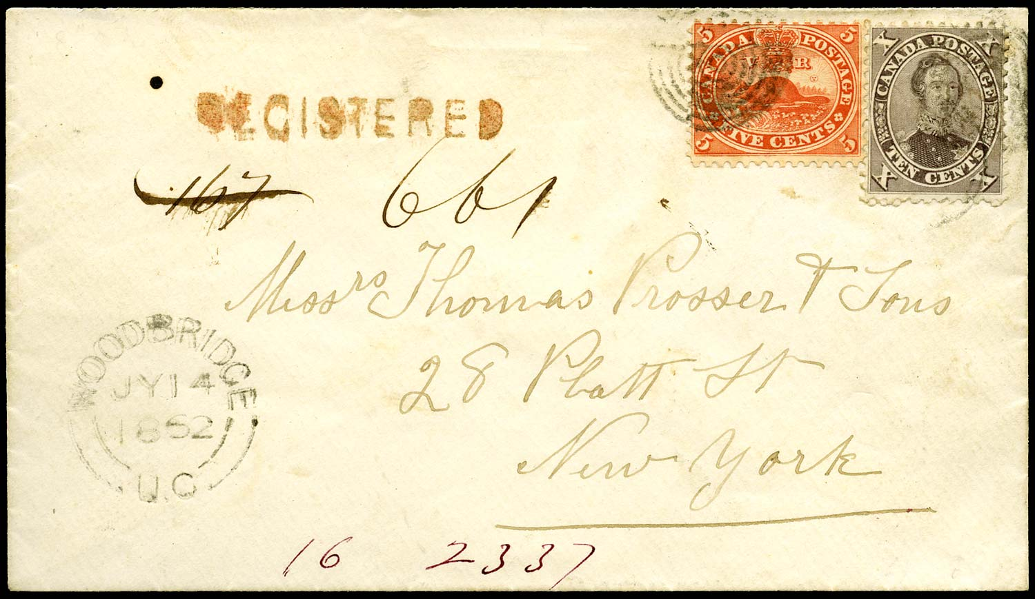 CANADA 1862  SG31, 35 Cover registered to New York at 15c rate