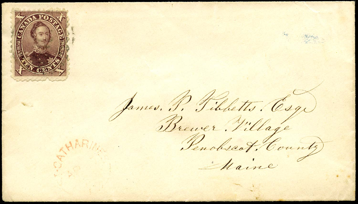CANADA 1860 (c)  SG33b Cover from St Catherines to Maine with 10c Prince Consort