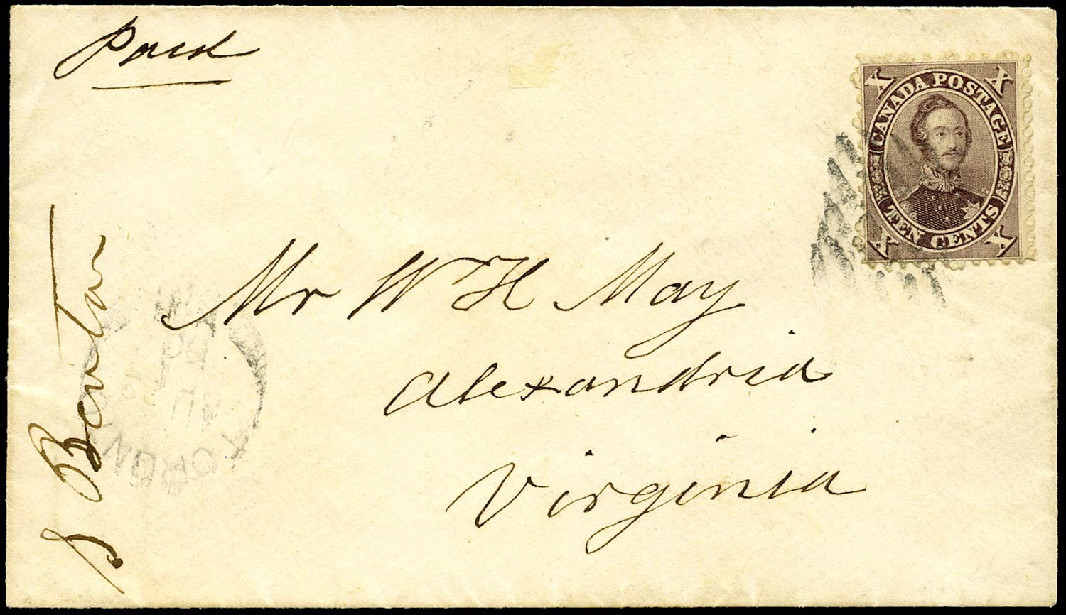 CANADA 1860  SG36 Cover from Toronto to Virginia with 10c Prince Consort