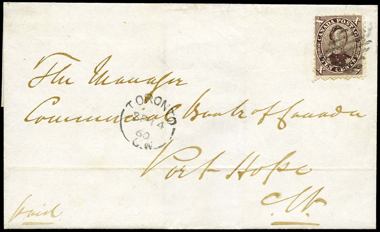 CANADA 1860  SG35 Cover from Toronto to Port Hope with 10c Prince Consort