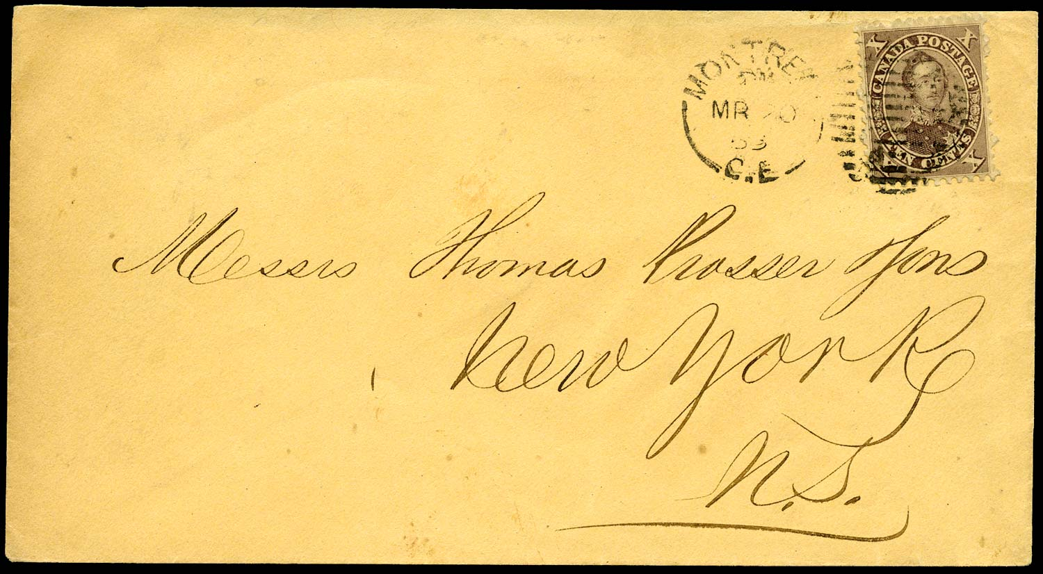 CANADA 1863  SG35 Cover from Montreal to New York with 10c Prince Consort