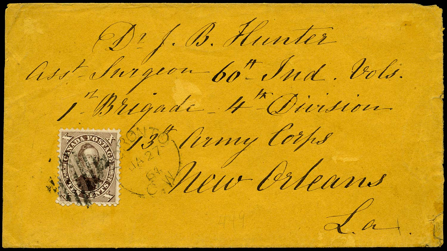 CANADA 1864  SG35 Cover from Toronto to New Orleans with 10c Prince Consort x3